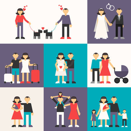 Set of Flat Design Vector Illustrations. Happy Family. Friendship, Wedding, Honeymoon, Pregnancy, Birth of a child