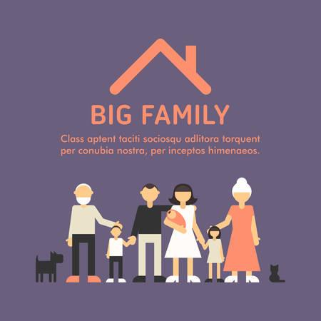 Big Happy Family. Parents with Children. Father, mother, children, grandpa, grandma 版權商用圖片 - 38200521