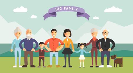 家庭: 快樂的大家庭。家長帶孩子。父親,母親,兒童,爺爺,奶奶 向量圖像
