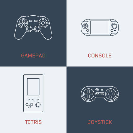 tetris: Set of Modern Vector Thin Line Icons. Gamepad, Console, Tetris, Joystick