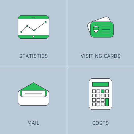 costs: Set of Modern Vector Thin Line Icons. Statictics, Visiting Cards, Mail, Costs