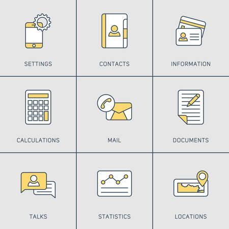 conversaciones: Conjunto de modernos Vector L�nea fina Iconos. Ajustes, Contactos, Correo, locales, Charlas, Documentos Vectores