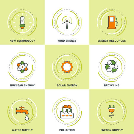 pollution: Modern Vector Ecology Line Icons Set. New Technology, Clean Energy, Recycling, Pollution, Water and Energy Supply Illustration