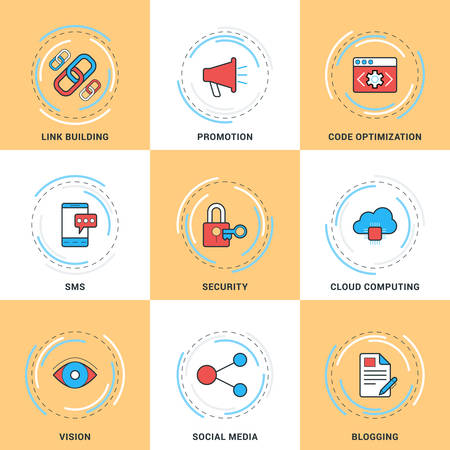 security search: Modern Vector Line Icons Set. Security, Search Engine Optimization, Promotion, Cloud Computing, Blogging, Social Media