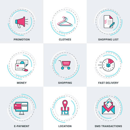 epayment: Modern Vector Business and Shopping Line Icons Set. Promotion, Money, SMS Transactions, E-Payment, Shopping, Delivery