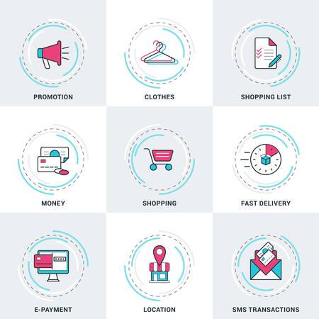 transakcji: Nowoczesne wektora linii biznesowych i handlowych zestaw ikon. Promocja, Pieniądze, Transakcje SMS, e-płatności, Zakupy, Dostarczanie