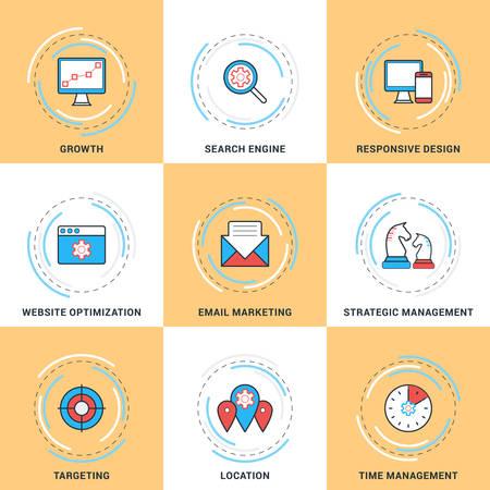 strategic management: Modern Vector Line Icons Set. Growth, Search Engine Optimization, Responsive Design, Strategic Management, Email Marketing