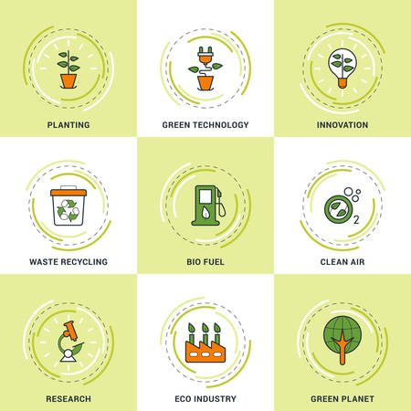 recycling campaign: Modern Vector Ecology Line Icons Set. Planting, Research, Clean Air, Innovation, Recycling and Green Technology
