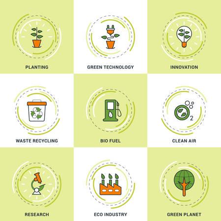 saubere luft: Moderne Vector Umweltschiene Icons Set. Pflanzen, Research, Clean Air, Innovation, Recycling und Green Technology