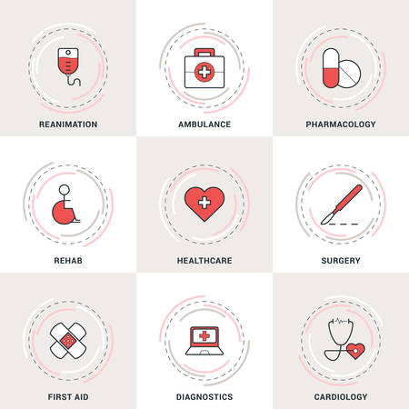 reanimation: Modern Vector Medicine Line Icons Set. Ambulance, Reanimation, Healthcare, Cardiology, Pharmacology