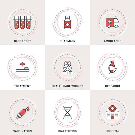 vacuna: Vector moderno Medicina L�nea de conjunto de iconos. An�lisis de sangre, Ambulancia, Asistencia sanitaria, vacunaci�n, Hospital Vectores