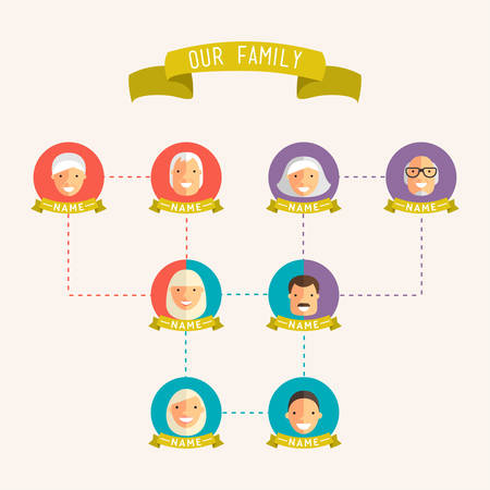 generations: Family tree with people avatars of generations flat vector illustration