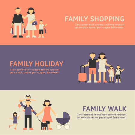 family: Family Shopping, Family Holiday and Family Walk. Flat Design Illustration for Web Banners