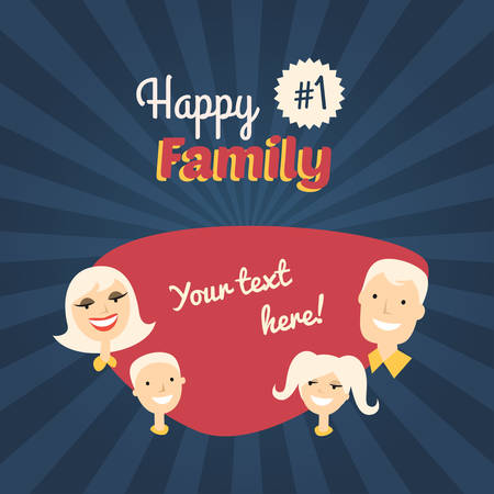 mom son: Happy Family. Mom, Son, Dad and Daughter. Flat Design Vector Illustration with Place for Text Illustration