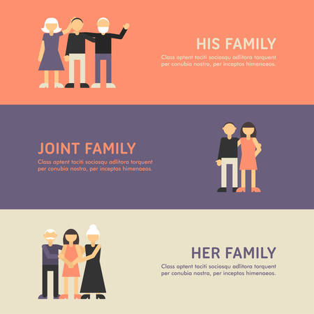 big family: Small Family, Family and Big Family Walk. Flat Design Illustration Concept for Web Banners