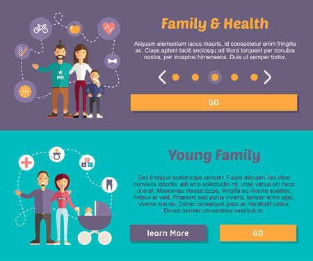 Health Family and Young Family. Flat Design Illustration Concept for Web Banners 版權商用圖片 - 38481165