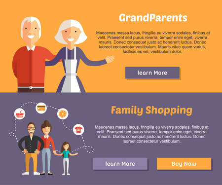 Grandparents and Family Shopping. Flat Design Illustration Concept for Web Banners Иллюстрация