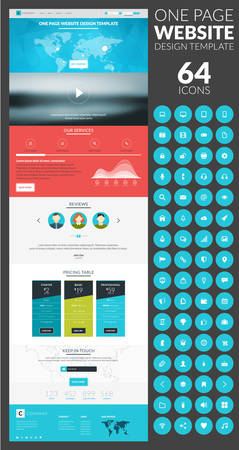 landing: One page website vector template in flat style with icon set Illustration