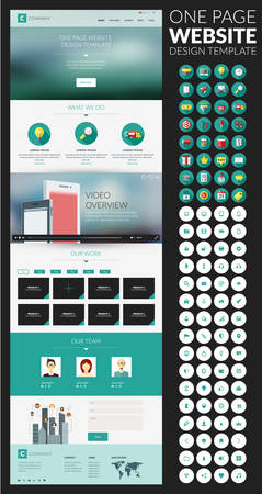 One page website vector template in flat style with icon set Illustration