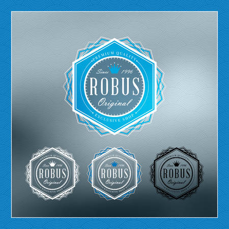 hexagone: Retro Vintage Insignia,  Label or Badge. Business sign design template with color variations