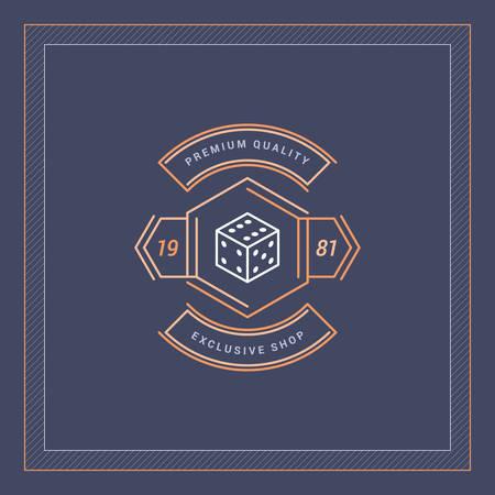 hexagone: Line Art Badge  in Vintage Colors