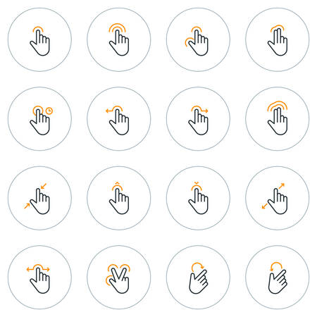 pinching: Set of Thin Line Touch Gestures Icons. Vector Illustration