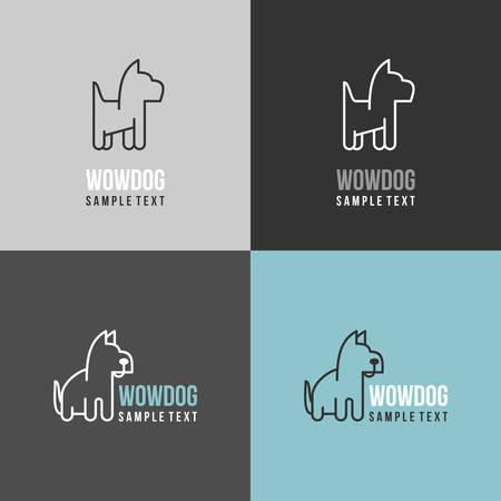 chien: Thin Line Design Mod�le Logotype. Logo chien avec Color Variations