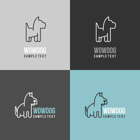 pet shop: Thin Line Design Template Logotype. Dog Logo with Color Variations