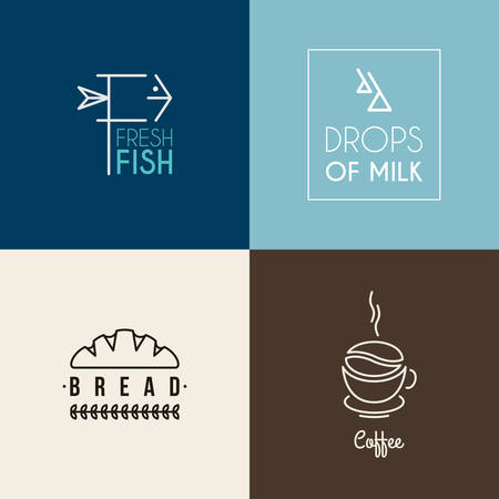 fish type: Set of Thin Line Design icon type Templates. Fresh Fish, Drops of Milk, Bread, Coffee Illustration