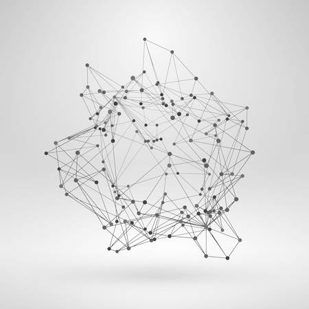 triangle objects: Wireframe Polygonal Element. Abstract 3D Object with Thin Lines