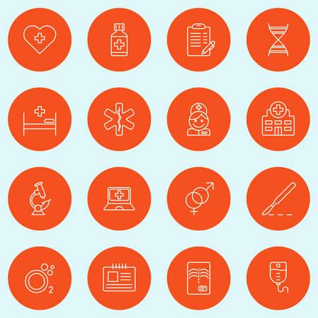 equipos medicos: Conjunto de Thin Line Medicina y Iconos sanos. Ilustraci�n vectorial Vectores