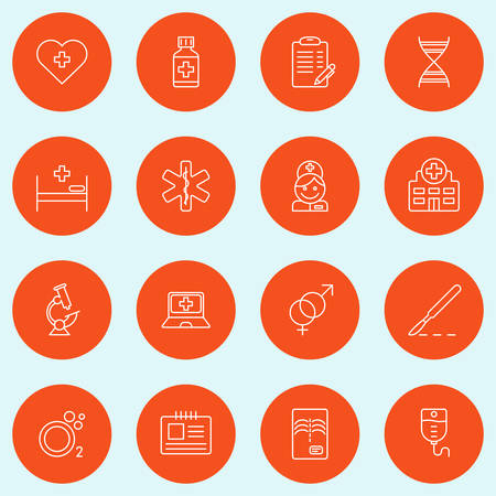 medical computer: Set of Thin Line Medicine and Healthy Icons. Vector Illustration
