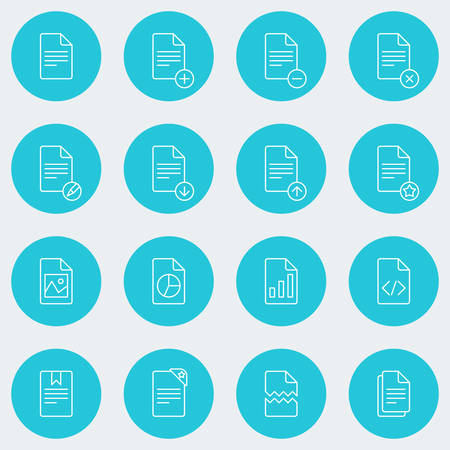 Set of Thin Line Document Icons. Vector Illustration