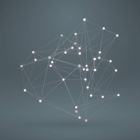 Wireframe Polygonal Element. Abstract 3D Object with Thin Lines 版權商用圖片 - 39208069