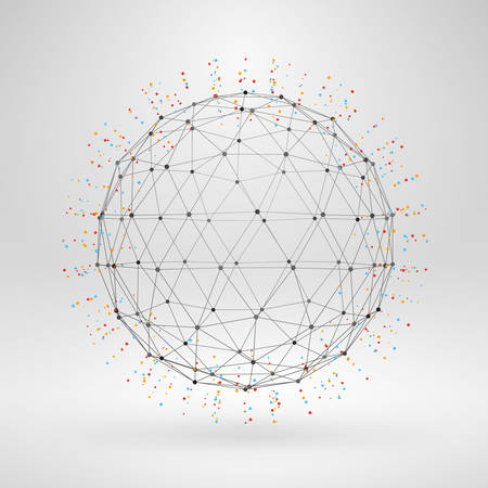 Wireframe polygonal element. 3D sphere with lines and dots 版權商用圖片 - 39208071