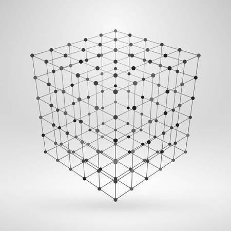 Wireframe polygonal element. 3D cube with lines and dots