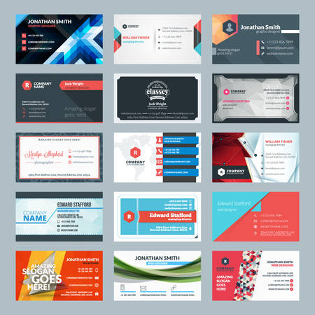 fondo para tarjetas: Vector conjunto de tarjetas de visita modernas creativas