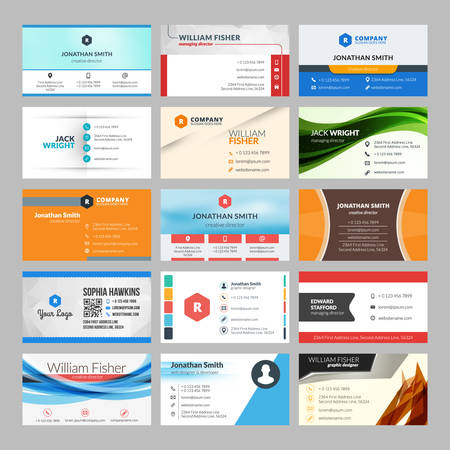 graphic icon: Vector set of modern creative business cards
