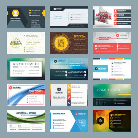 business card layout: Vector set of modern creative business cards
