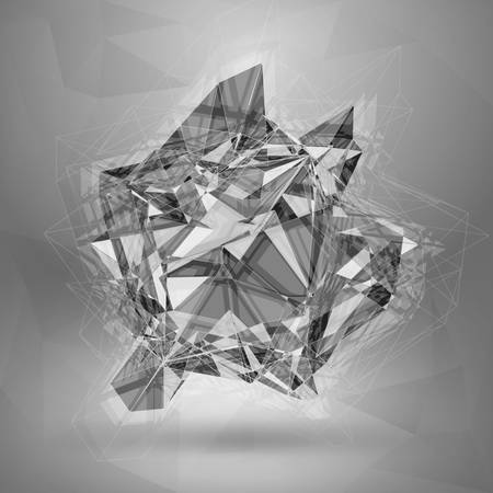 3d object: Wireframe polygonal element. Explosion of Red 3D Object Illustration