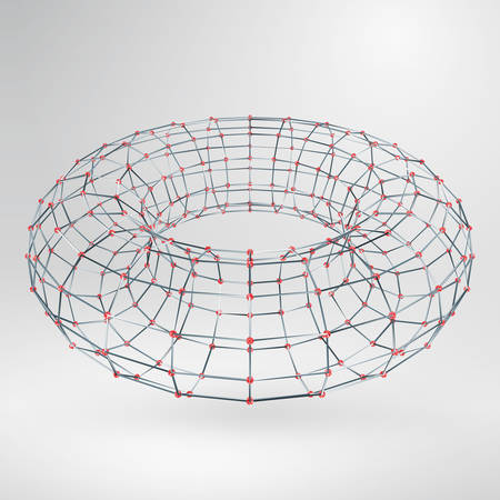 adamant: Wireframe polygonal element. 3D Torus with Diamonds