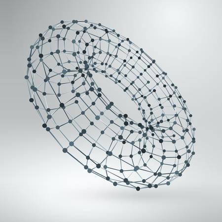 torus: Wireframe polygonal element. 3D Torus with Diamonds