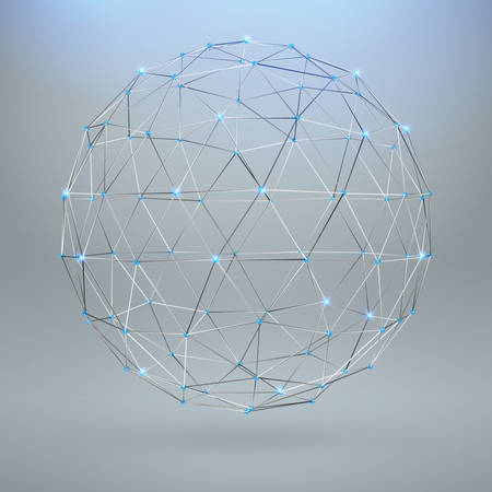 adamant: Wireframe polygonal element. 3D sphere with Diamonds