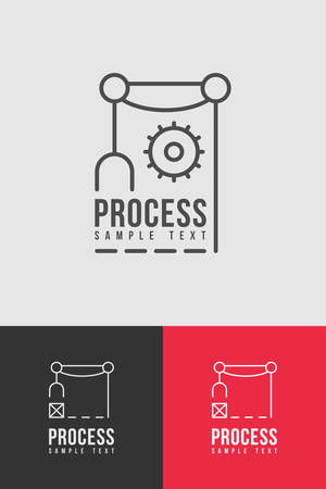 Line Art Process Badge Template. Thin Line Graphic Design Vector