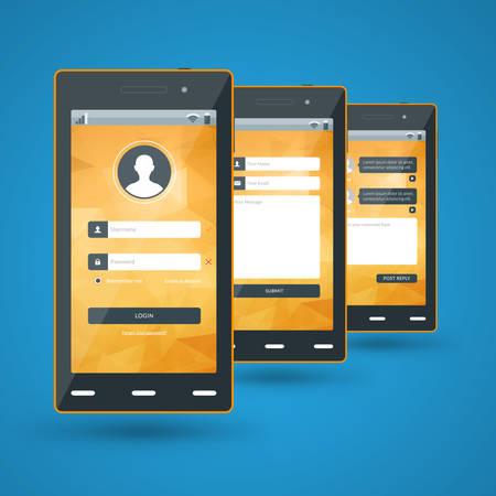 Modern smartphone. Flat design template for mobile apps Vector