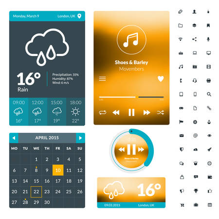 scrollbar: Set of flat design UI elements for website and mobile applications