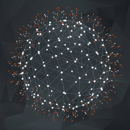 Wireframe polygonal element. 3D sphere with Dots Flying Apart 矢量图像