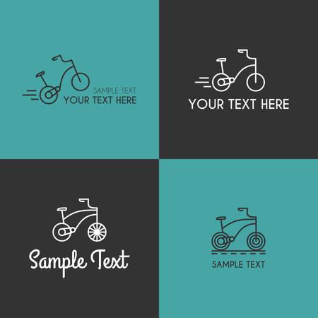 driewieler: Set van Line Art Badge sjablonen met kinderen Tricycle. Thin Line Graphic Design
