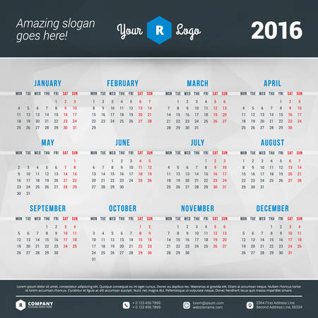 time of the day: Calendar 2016 Vector Design Template. Week starts Monday