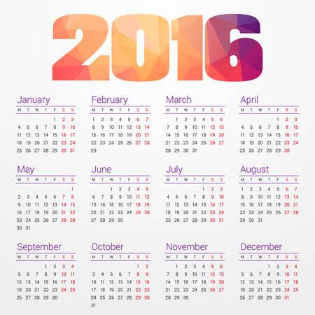 Calendar 2016 Vector Design Template. Week starts Monday